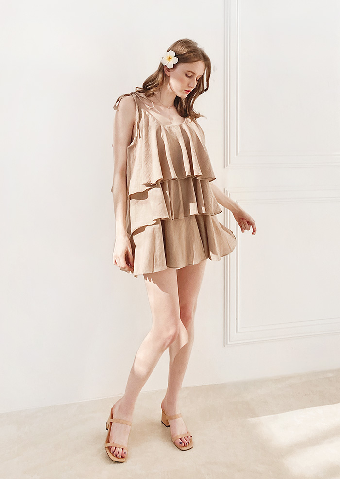Vacances Frill One-piece (Beige)