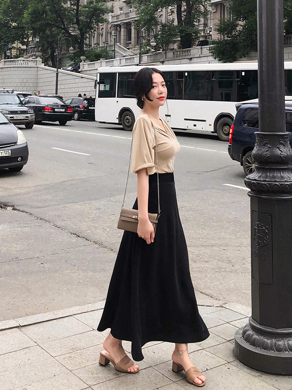 [GRACE-U] LONG SKIRT (Black)