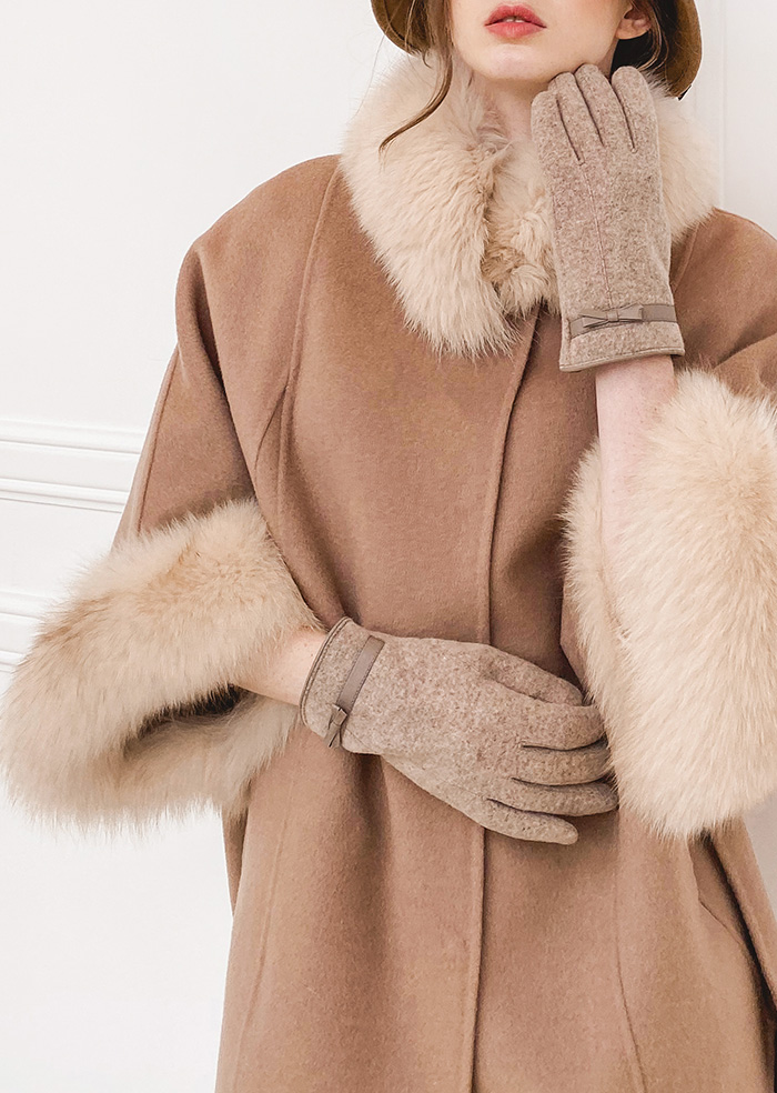 Wool 100% Fox Fur Cape Coat (Beige)