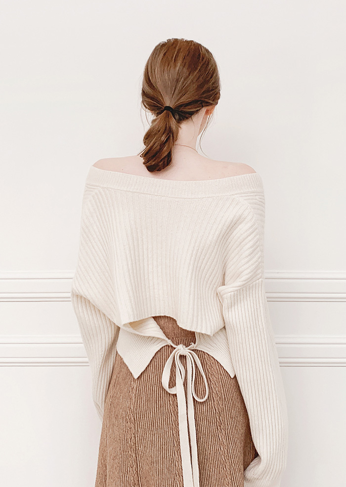 Wool 100% Ribbon Knit (Ivory)