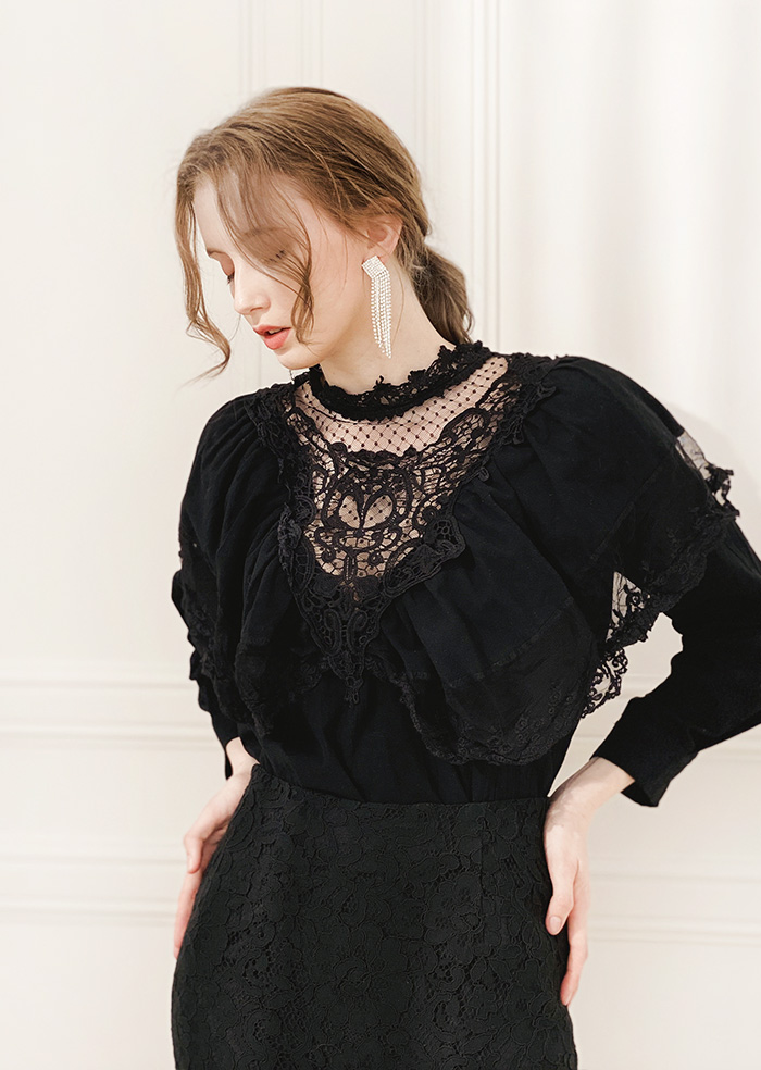 Lace Frill Blouse (Black)