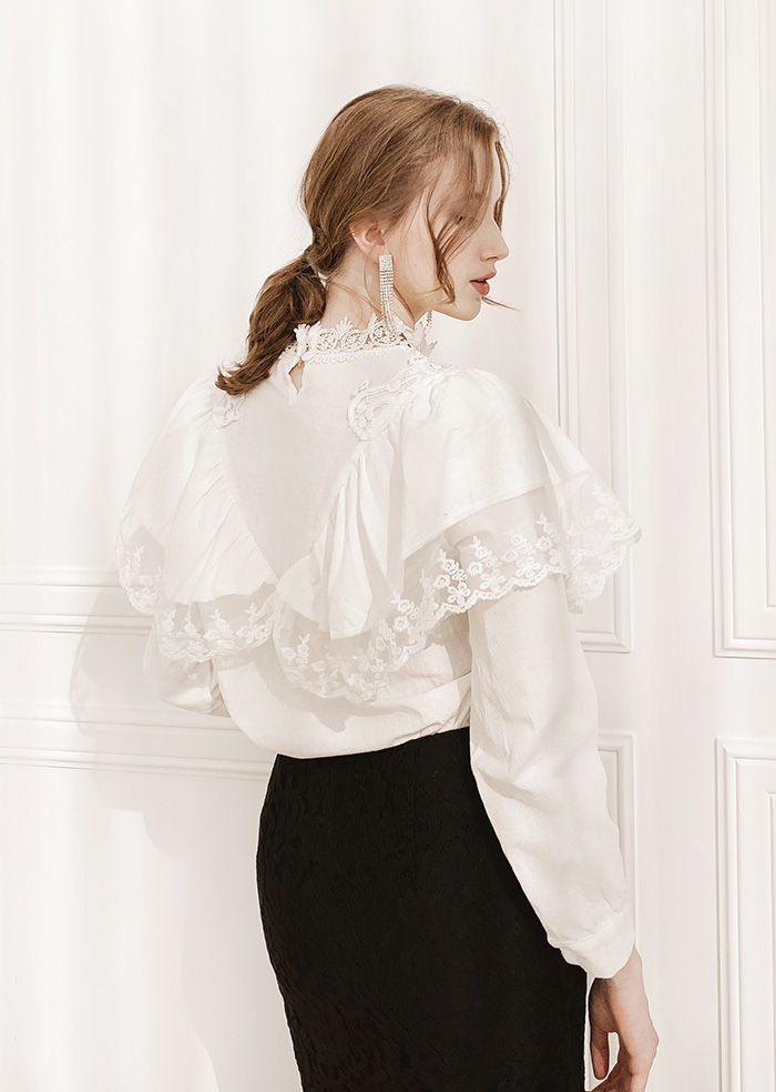 Lace Frill Blouse (White)