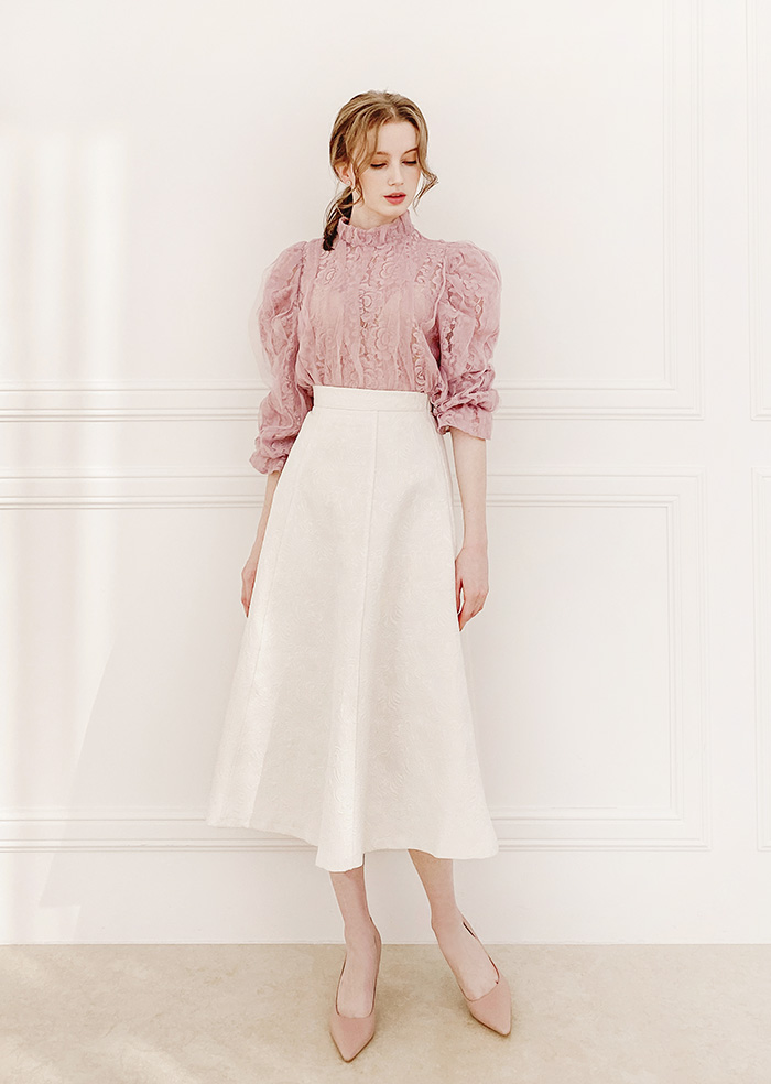 Lace Puff Blouse (Pink)