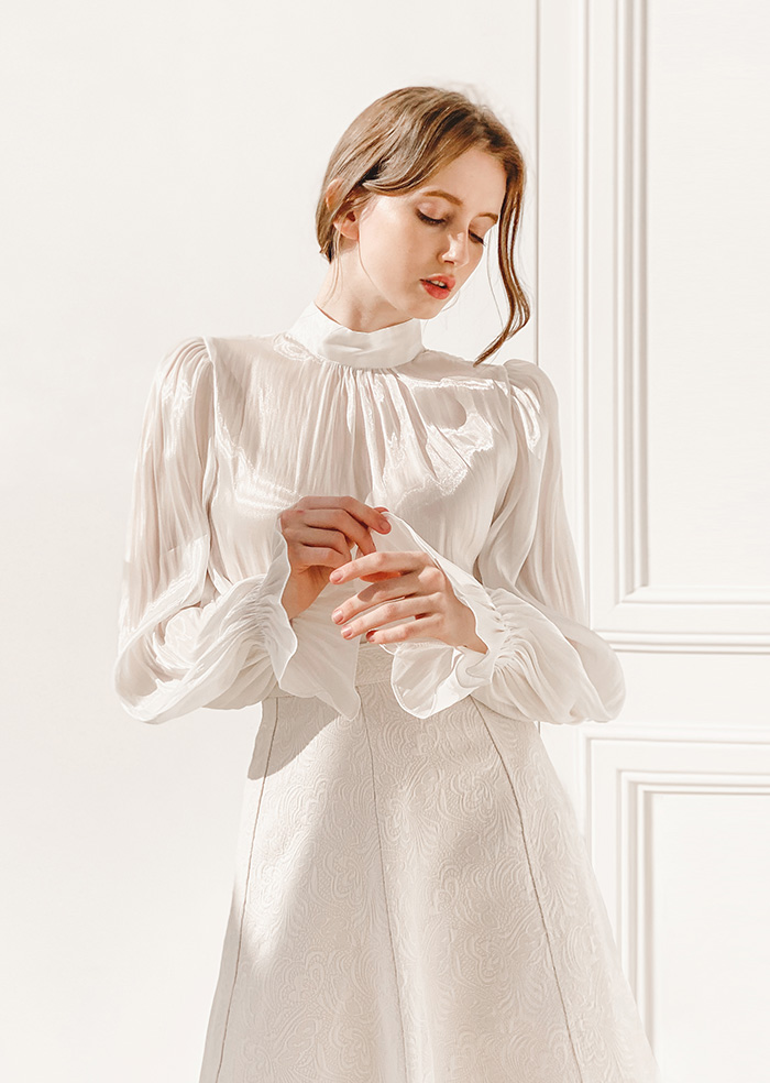Daisy Satin Blouse (White)