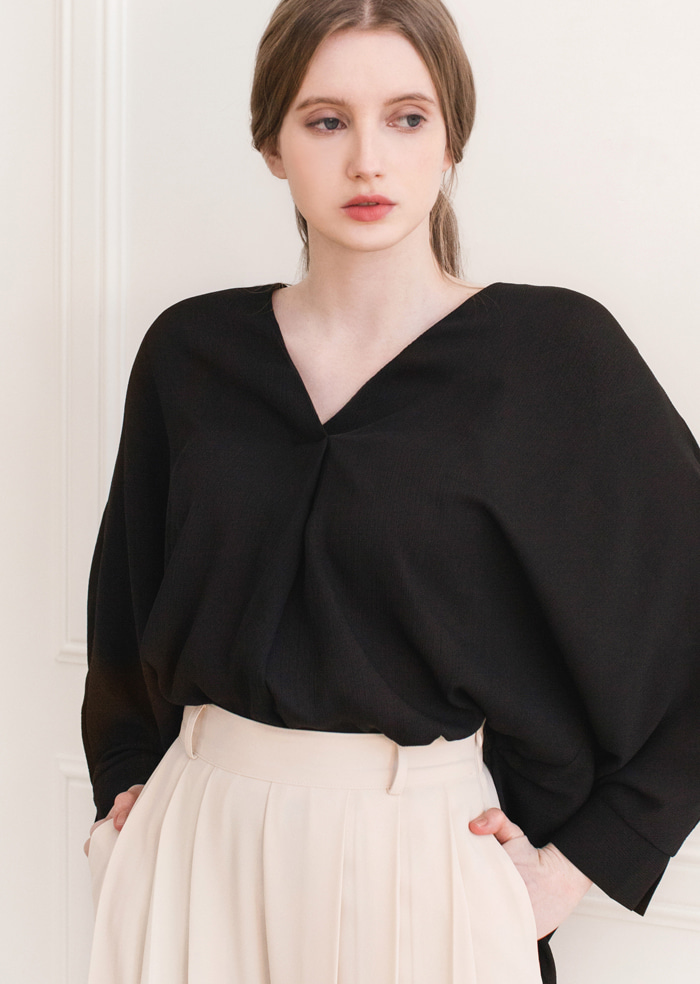 Baba V-Neck Shirt Blouse (Black)