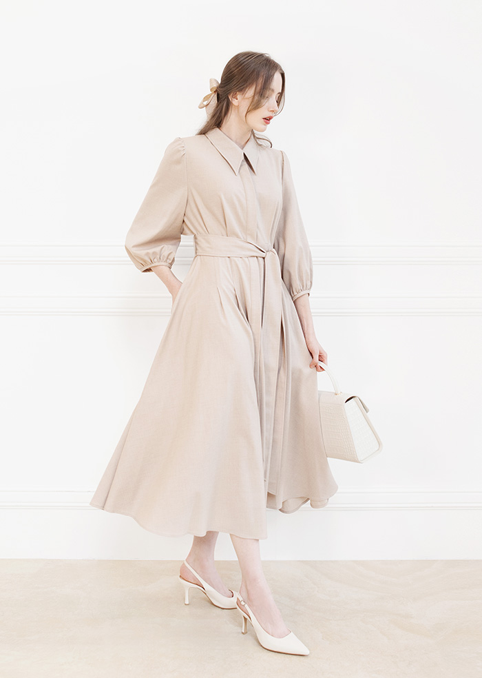 Trench Flare Long One-Piece (Beige)