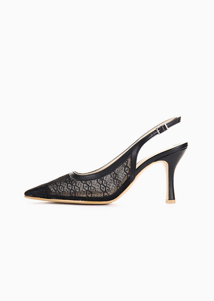 Grace Lace Slingback (Black)