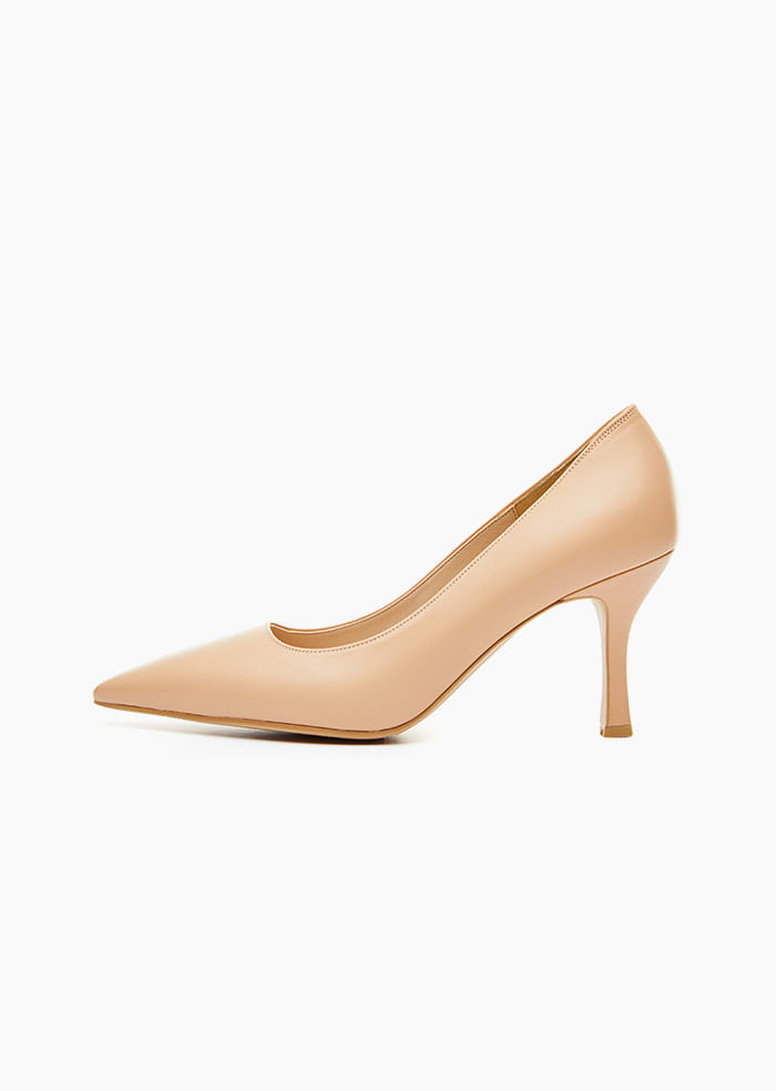 Grace Leather Heel (Beige)