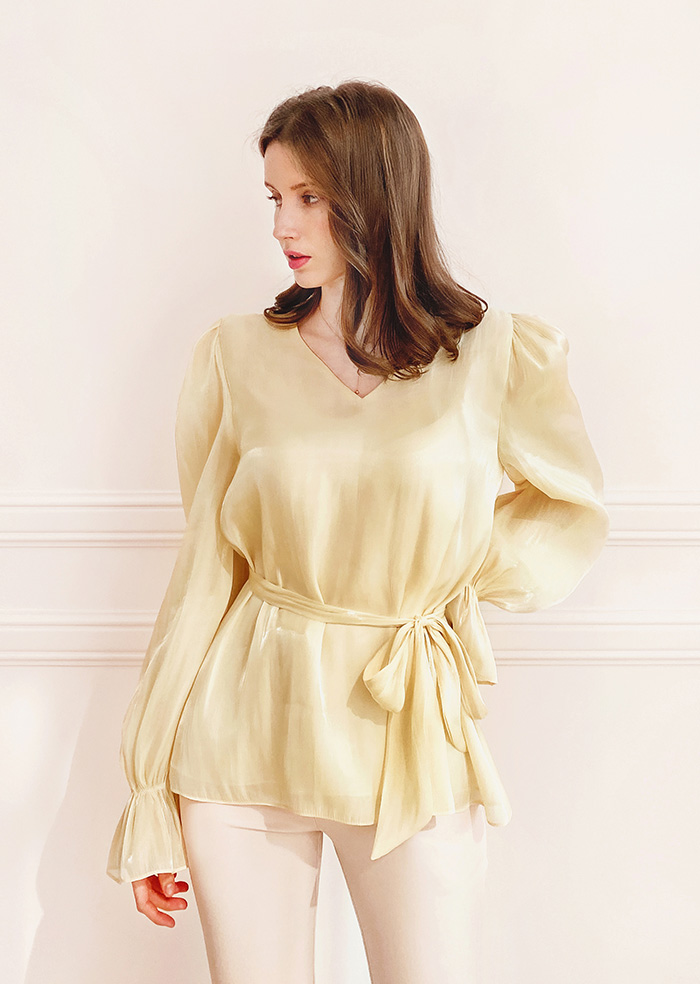 Daisy Satin V-neck Blouse (Yellow)