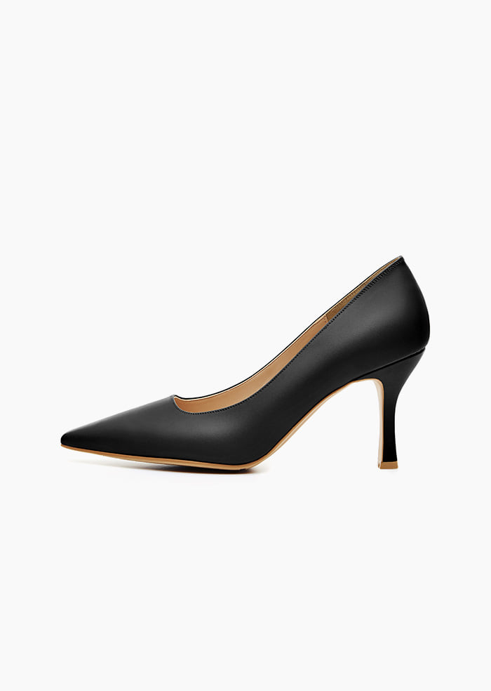 Grace Leather Heel (Black)
