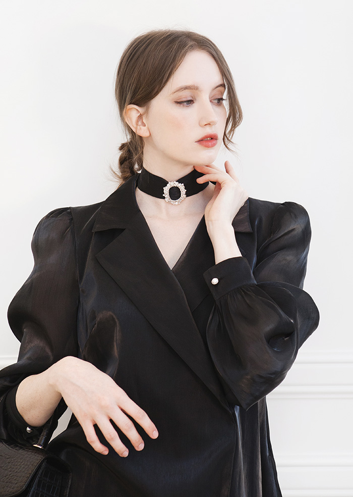 Satin Collar Wrap One-Piece (Black)