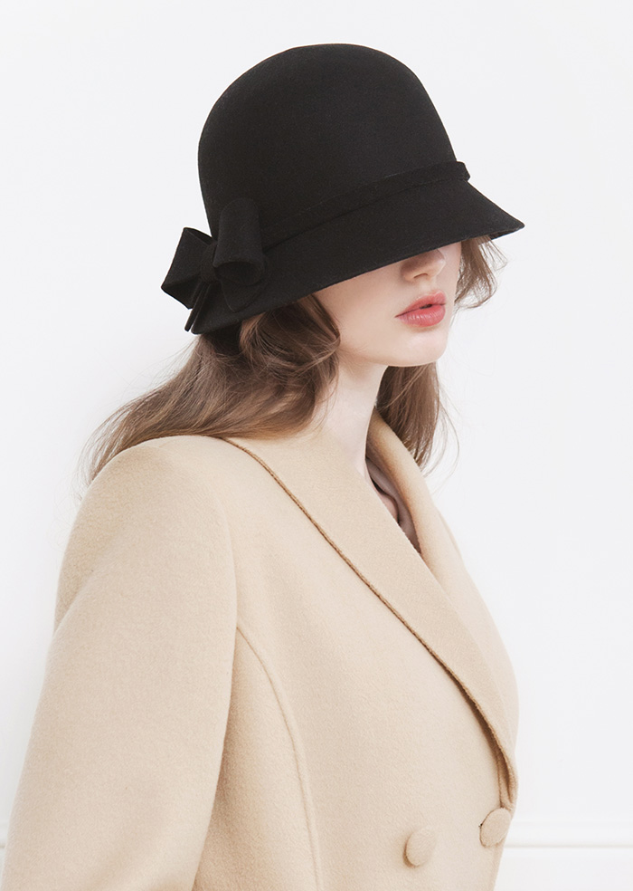 Ribbon Wool Cloche Hat (Black)